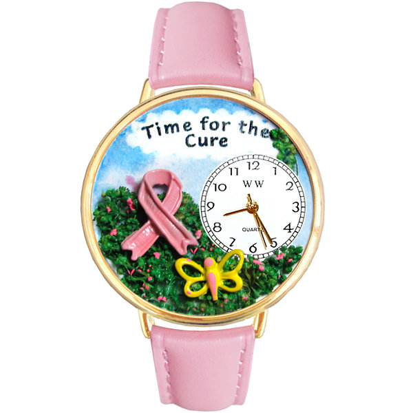 Whimsical Watches Personalized Pink Ribbon Cure Womens Gold-Tone Bezel Pink Leather Strap Watch