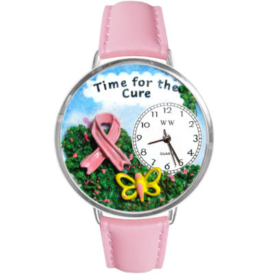 Whimsical Watches Personalized Pink Ribbon Cure Womens Silver-tone Bezel Pink Leather Strap Watch