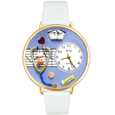 Whimsical Watches Personalized Nurse Womens Gold–Tone Bezel White Leather Strap Watch