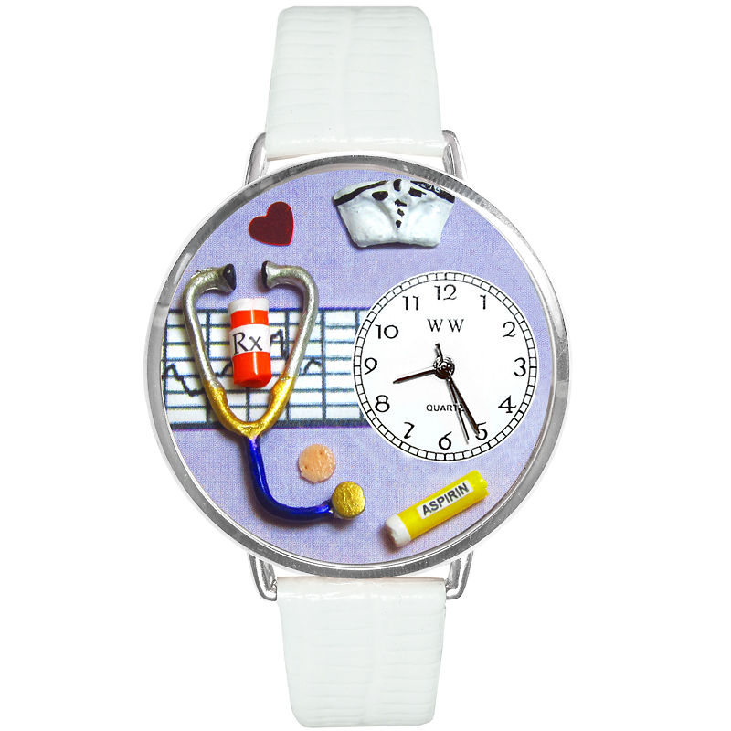 Whimsical Watches Nurse Purple White Skin Leather And Silvertone Watch #U0620042