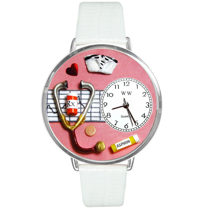 Whimsical Watches Personalized Nurse Womens Silver-Tone Bezel White Leather Strap Watch