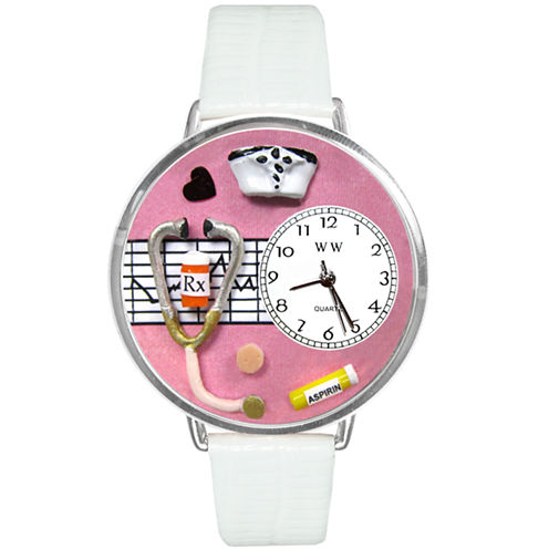 Whimsical Watches Personalized Nurse Womens Silver–Tone Bezel White Leather Strap Watch
