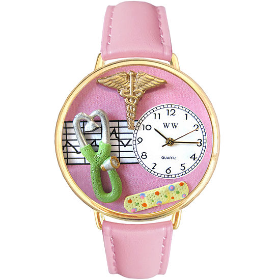 Whimsical Watches Personalized Nurse Womens Gold–Tone Bezel Pink Leather Strap Watch