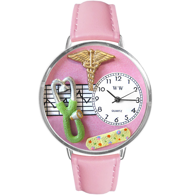 Whimsical Watches Personalized Nurse Womens Silver-Tone Bezel Pink Leather Strap Watch