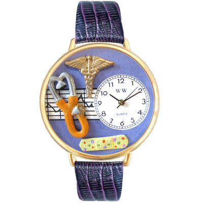 Whimsical Watches Personalized Nurse Womens Gold–Tone Bezel Purple Leather Strap Watch
