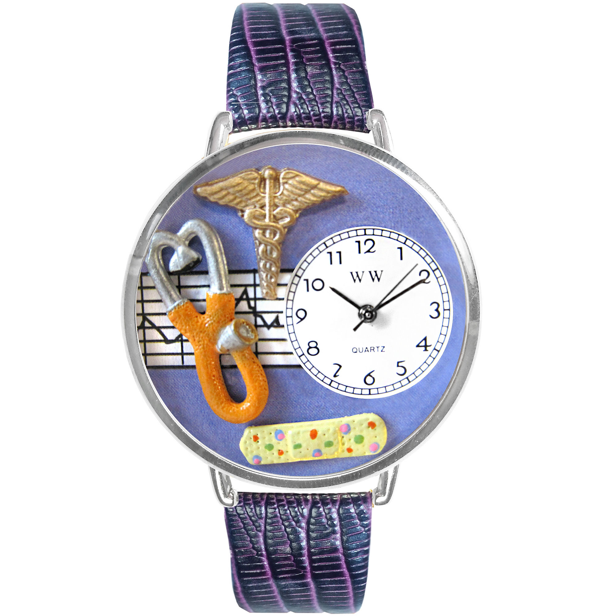 Whimsical Watches Personalized Nurse Womens Silver-Tone Bezel Purple Leather Strap Watch