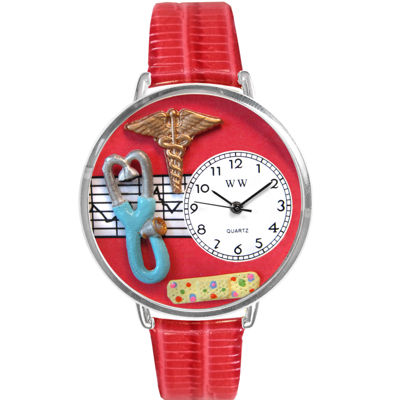 Whimsical Watches Personalized Nurse Womens Silver–Tone Bezel Red Leather Strap Watch