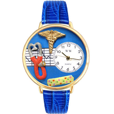 Whimsical Watches Personalized Nurse Womens Gold–Tone Bezel Blue Leather Strap Watch