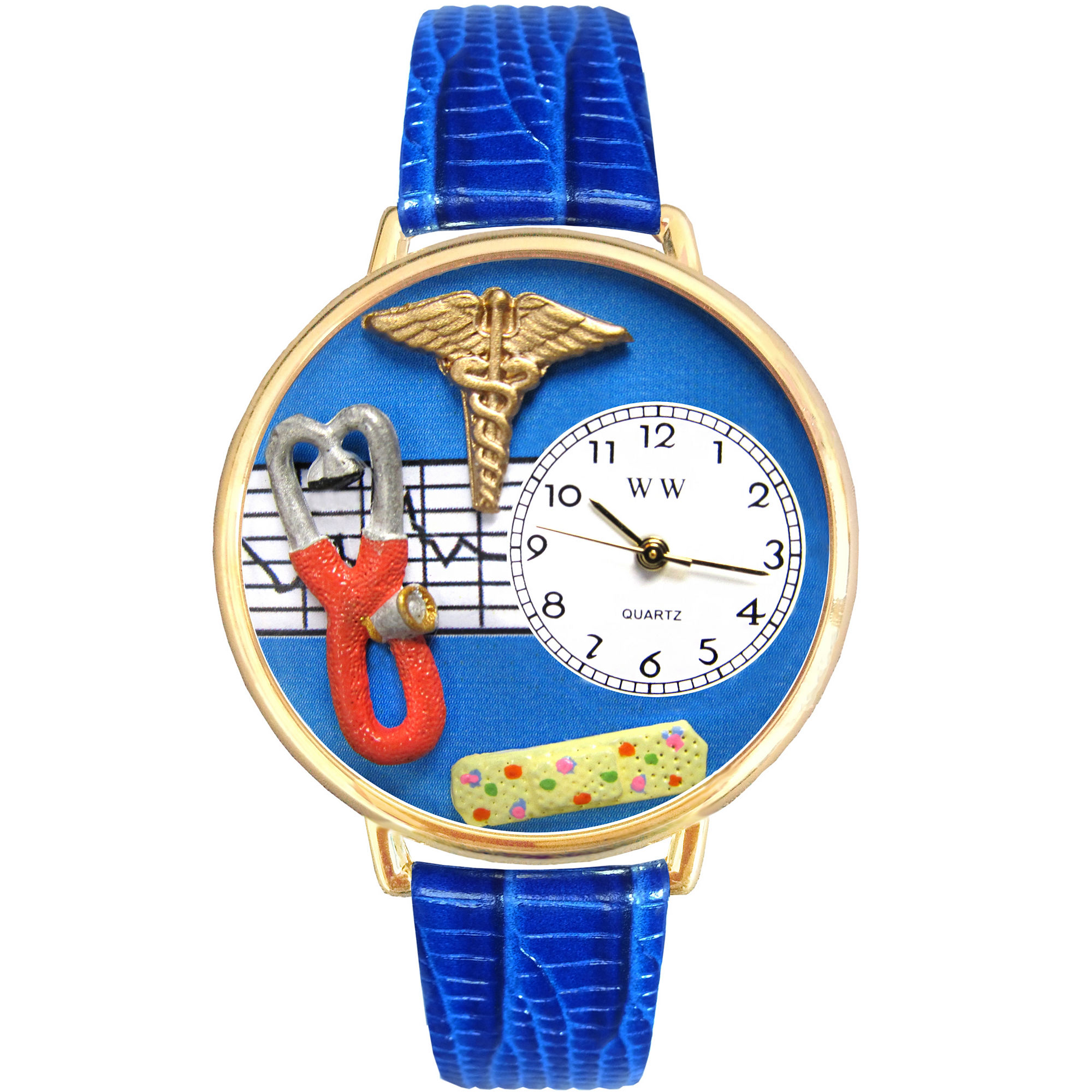 Whimsical Watches Personalized Nurse Womens Gold-Tone Bezel Blue Leather Strap Watch