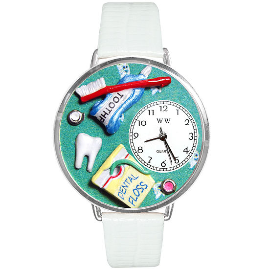 Whimsical Watches Personalized Dental Assistant Womens Silvertone Bezel White Leather Strap Watch