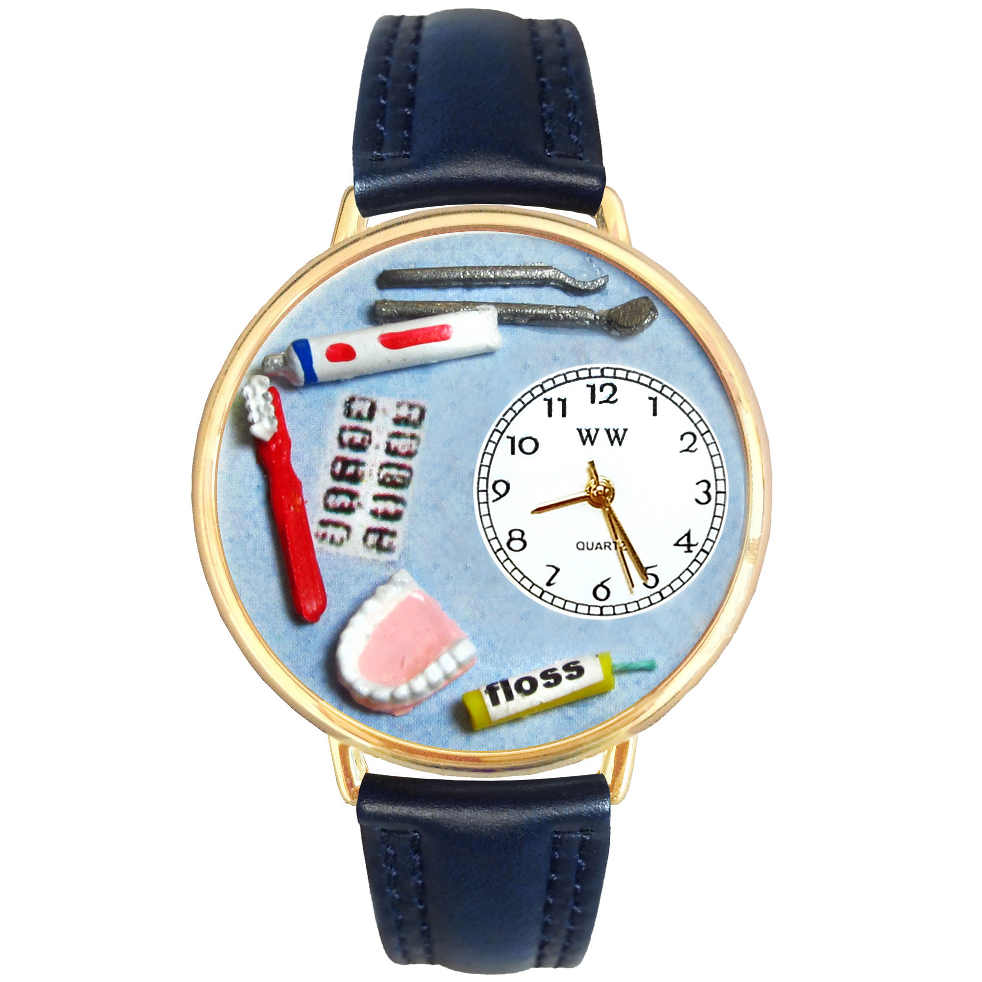 Whimsical Watches Personalized Dentist Womens Gold-Tone Bezel Blue Leather Strap Watch