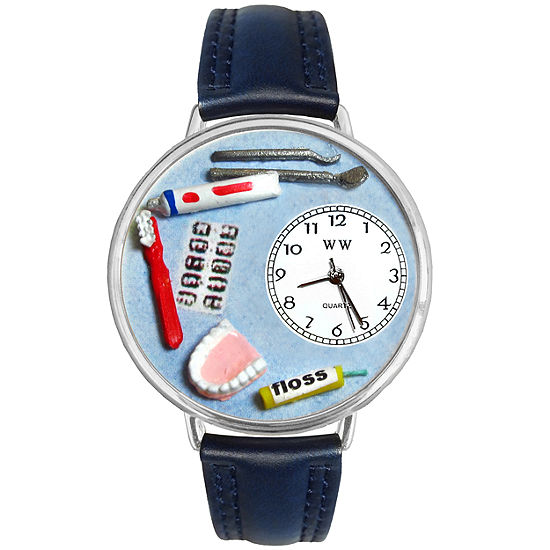 Whimsical Watches Personalized Dentist Womens Silver–Tone Bezel Blue Leather Strap Watch