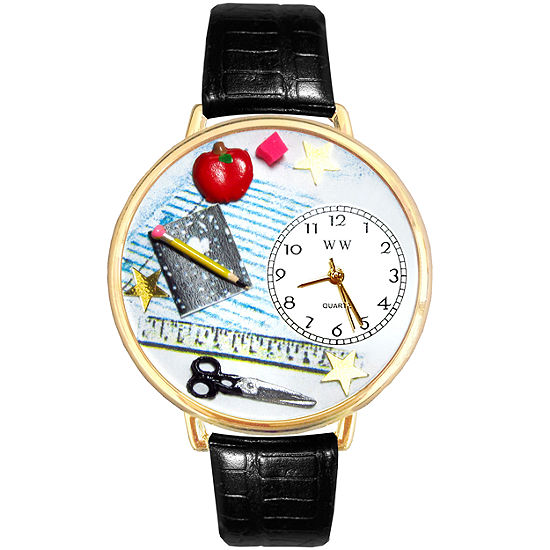 Whimsical Watches Personalized Teacher Womens Goldtone Bezel Black Leather Strap Watch