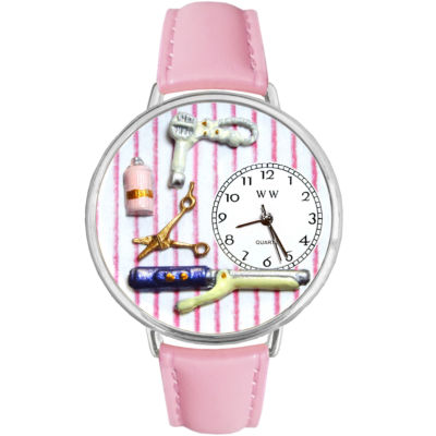 Whimsical Watches Personalized Beautician Womens Silver–Tone Bezel Pink Leather Strap Watch
