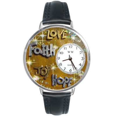 Whimsical Watches Personalized Faith and Love Womens Silver–Tone Bezel Black Leather Strap Watch