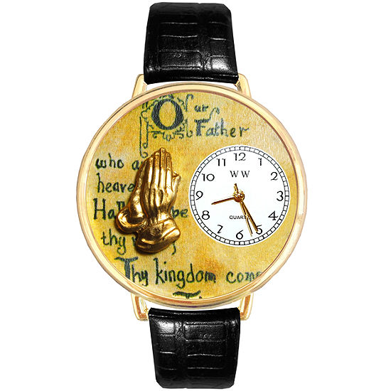 Whimsical Watches Personalized Lord's Prayer Womens Gold–Tone Bezel Black Leather Strap Watch