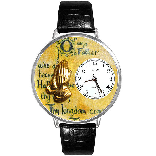 Whimsical Watches Personalized Lord's Prayer Womens Silver–Tone Bezel Black Leather Strap Watch