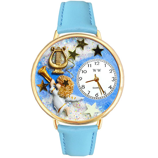 Whimsical Watches Personalized Angel Womens Gold–Tone Bezel Light Blue Leather Strap Watch