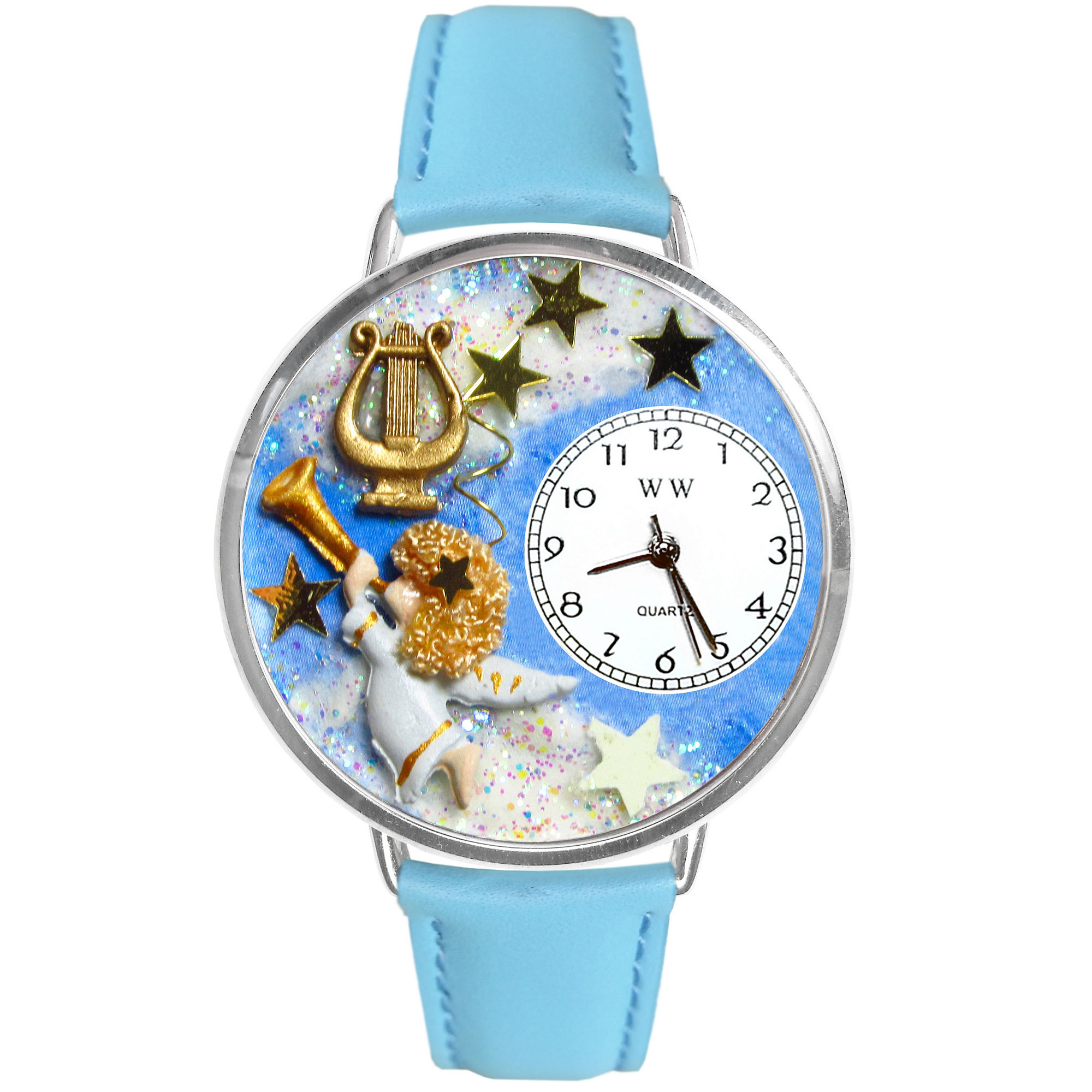 Whimsical Watches Personalized Angel Womens Silver-Tone Bezel Light Blue Leather Strap Watch