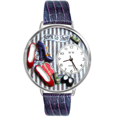 Whimsical Watches Personalized Shoe Lover Womens Silver–Tone Bezel Purple Leather Strap Watch