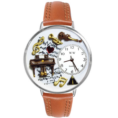 Whimsical Watches Personalized Piano Music Womens Silver–Tone Bezel Tan Leather Strap Watch