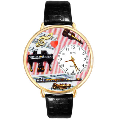 Whimsical Watches Personalized Music Teacher Womens Gold-Tone Bezel Black Leather Strap Watch