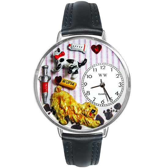 Whimsical Watches Personalized Veterinarian Womens Silver-Tone Bezel Black Leather Strap Watch