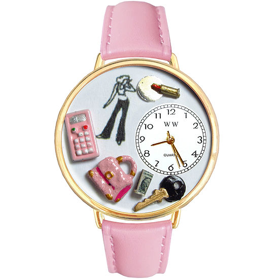 Whimsical Watches Personalized Teen Girl Womens Gold-Tone Bezel Pink Leather Strap Watch