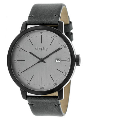 Simplify Mens The 2500 Charcoal Dial Leather-Band Watch with Date SIM2505