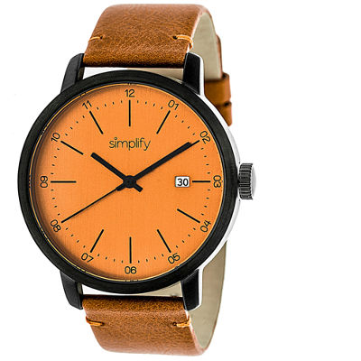 Simplify Mens The 2500 Orange Dial Leather-Band Watch with Date SIM2506