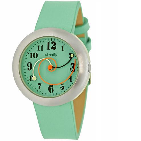 Simplify Unisex The 2700 Seafoam Leather-Band Watch SIM2705