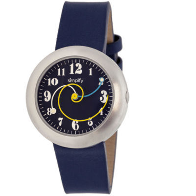 Simplify Unisex The 2700 Navy Leather-Band Watch SIM2706