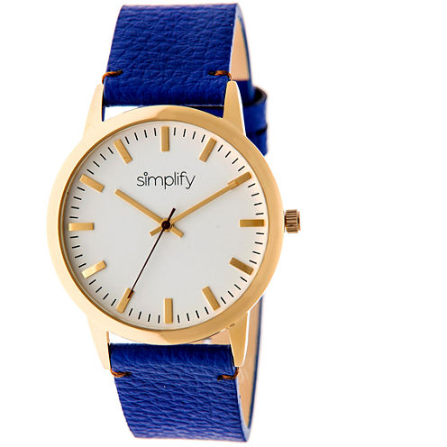 Simplify Unisex The 2800 Blue Leather-Band Watch SIM2804
