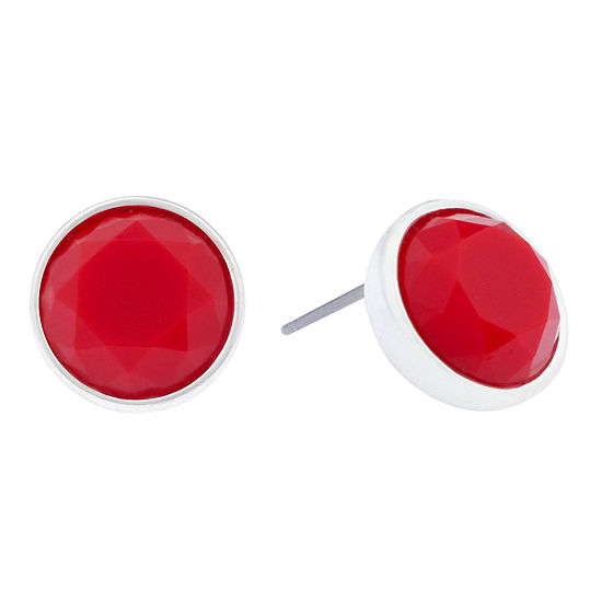 Liz Claiborne® Red Stone Silver-Tone Stud Earrings