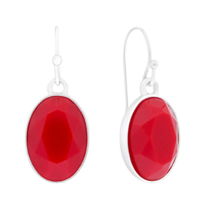 Liz Claiborne® Red Stone Silver-Tone Drop Earrings