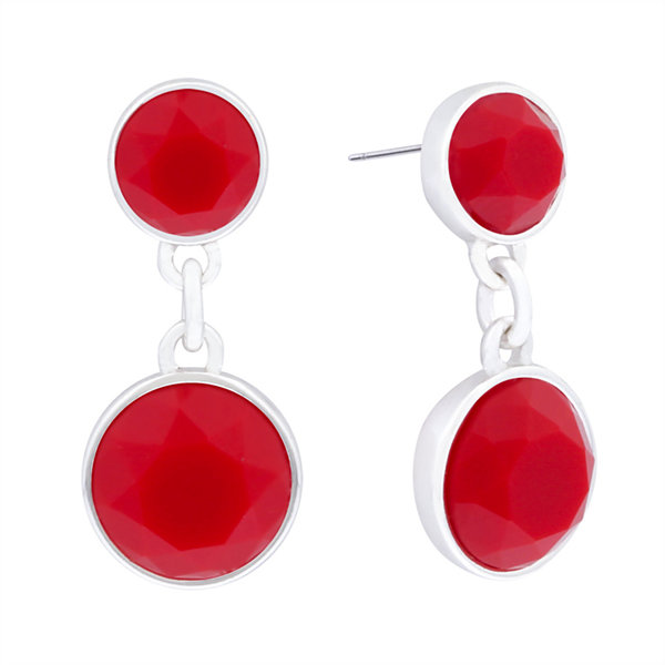 Liz Claiborne® Red Stone Silver-Tone Double Drop Earrings