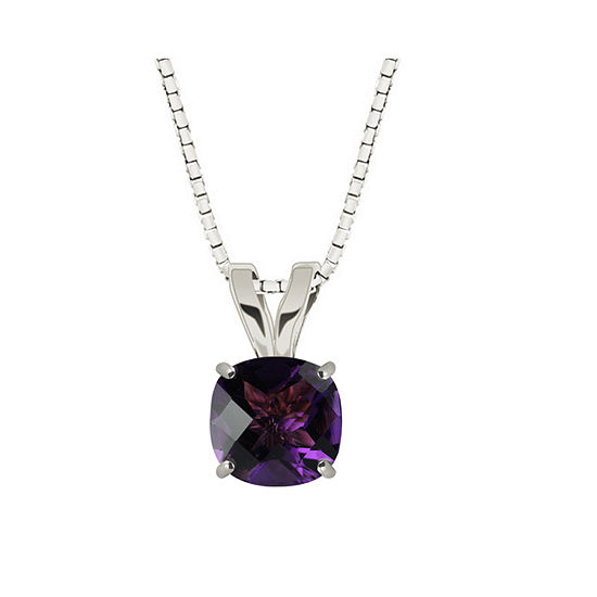 Genuine Amethyst 10K White Gold Pendant Necklace