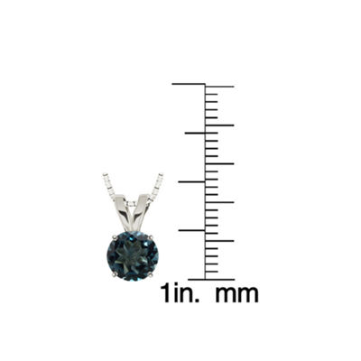 Genuine London Blue Topaz 10K White Gold Pendant Necklace