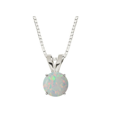 Lab-Created Round Opal 10K White Gold Pendant