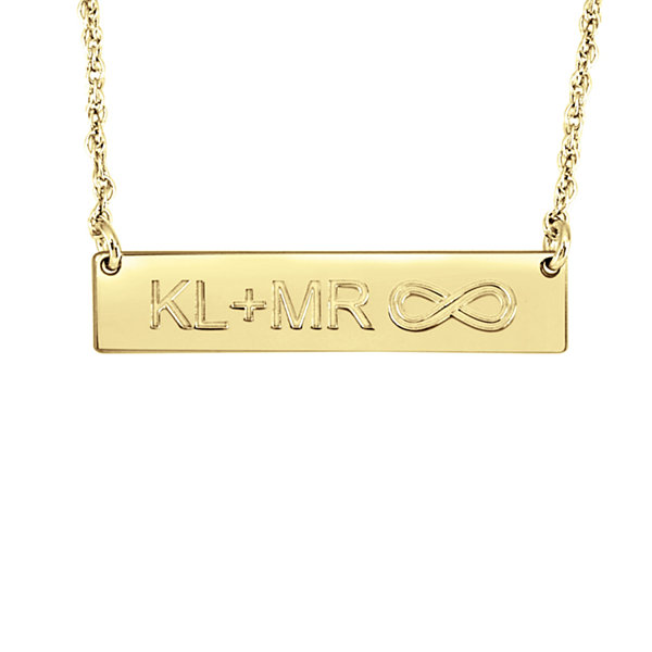 Personalized Couples Initials and Infinity Bar Necklace