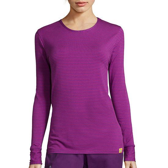 WonderWink® Layers 2079 Womens Long-Sleeve Striped Tee - Plus