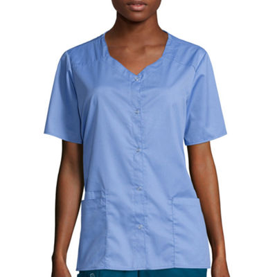 WonderWink® Womens Short-Sleeve Snap-Front Top