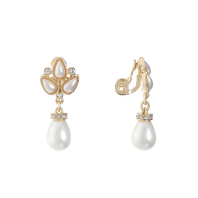 Monet Jewelry White Simulated Pearl Clip On Earrings