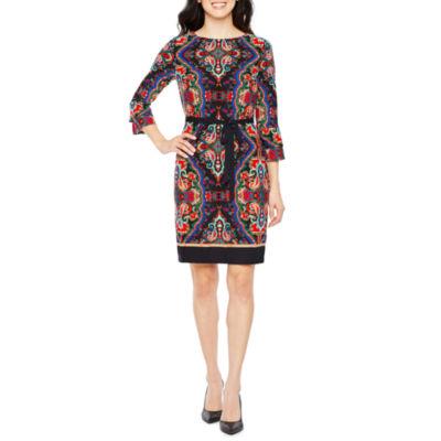 R & K Originals 3/4 Sleeve Pattern Shift Dress