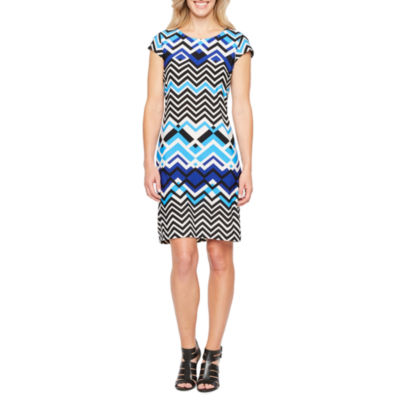 Liz Claiborne Short Sleeve Geometric Shift Dress