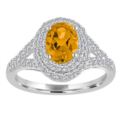 Womens Genuine Yellow Citrine Cocktail Ring