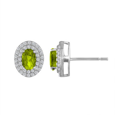 Genuine Green Peridot Sterling Silver 10.2mm Stud Earrings