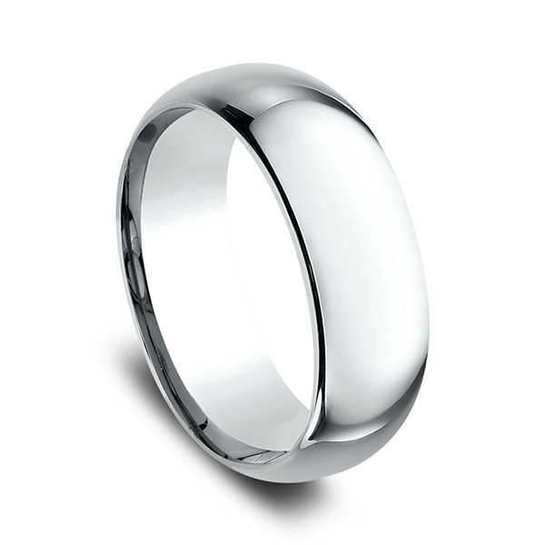 Mens 10K White Gold 8MM Comfort-Fit Wedding Band