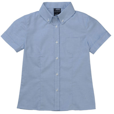 French Toast Short Sleeve Button-Down Oxford Blouse with Darts - Preschool Girls
