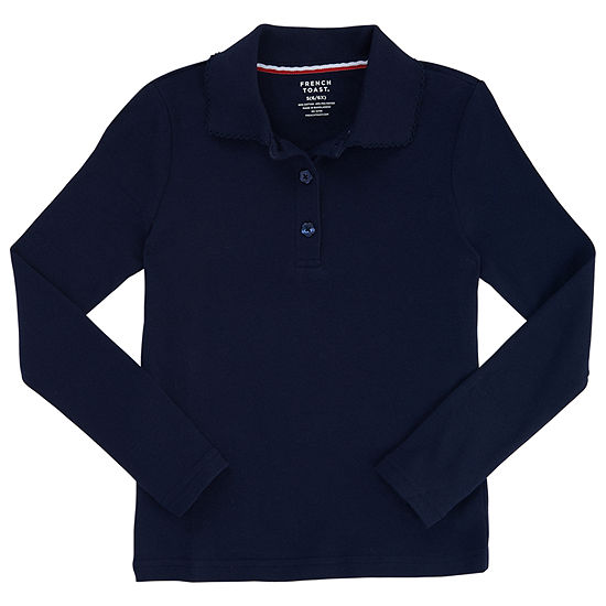 French Toast Long Sleeve Interlock Polo with Picot Collar - Girls 4-20 and Plus